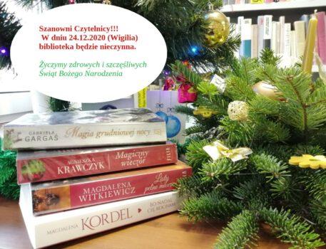 24 grudnia 2020 roku biblioteka nieczynna